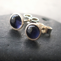 Silver and Iolite Stud Earrings