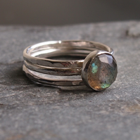 Stering Silver and Labradorite Trio of Rings
