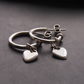 Solid Silver Three Quarter Hoops with Heart Charms