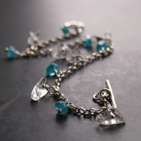 Sterling Silver Chain Bracelet with Quartz Crystal and Apatite.