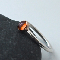 Amber and Sterling Silver Ring.