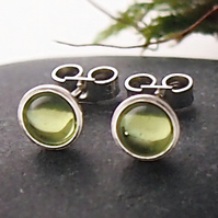 Silver and Peridot Stud Earrings