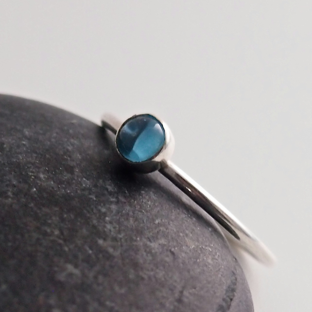 Blue Topaz and Sterling Silver Ring.
