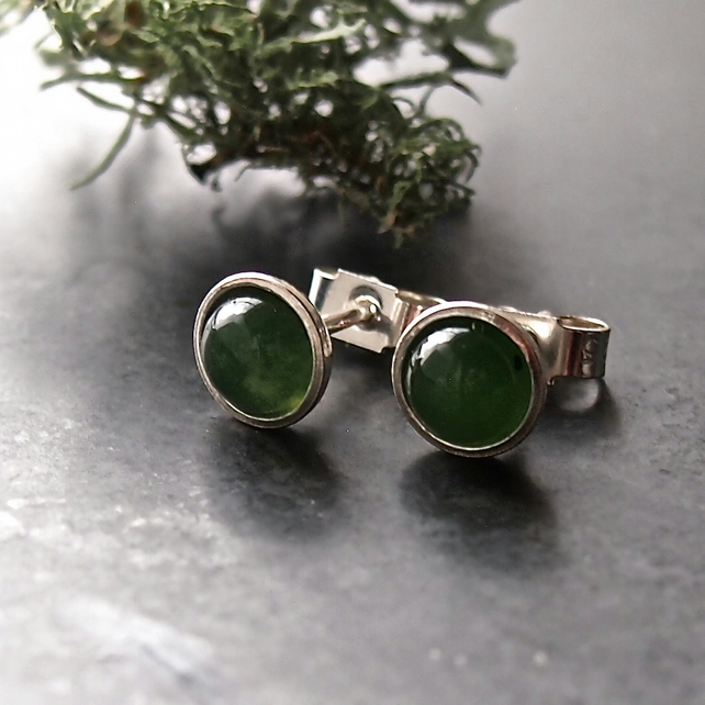 Sterling Silver and Jade Stud Earrings
