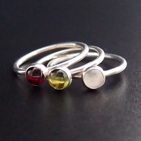 Winter Berries Trio of Silver Rings