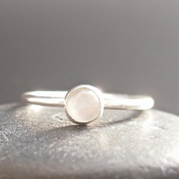 Rainbow Moonstone and Sterling Silver Ring.