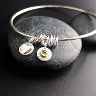 Sterling Silver Bangle with Heart Charms and Peridot