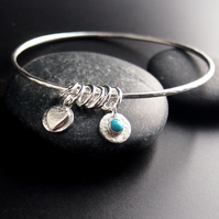 Sterling Silver Bangle with Heart Charms and Turquoise