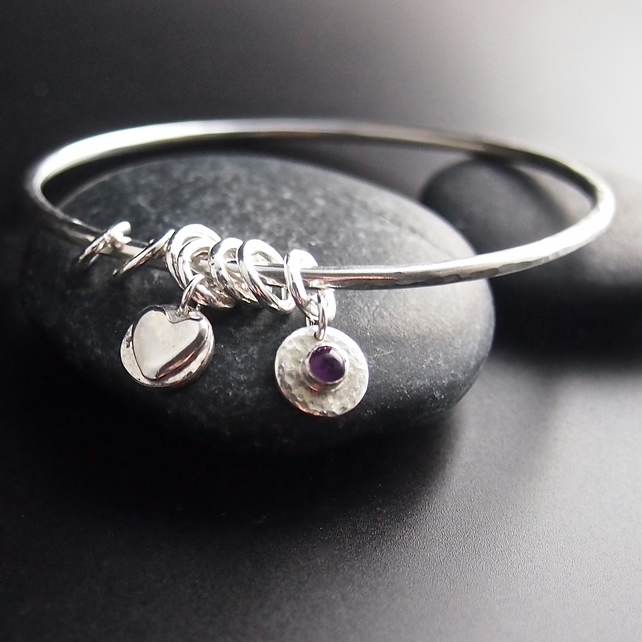 Sterling Silver Bangle with Heart Charms and Amethyst