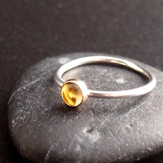 Citrine and Sterling Silver Ring.