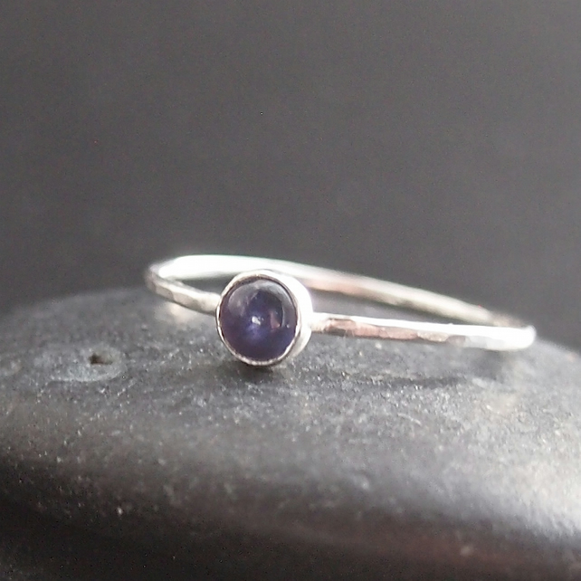 Iolite Skinny Stacking Sterling Silver Ring.