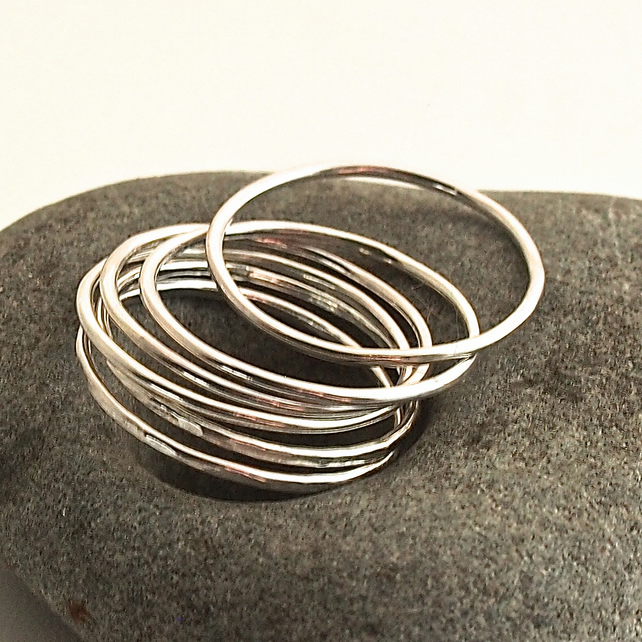 Six Sterling Silver Skinny Rings