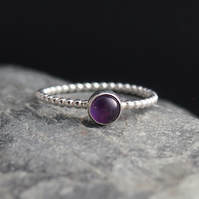 Silver Beaded Ring with Amethyst