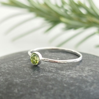 Sterling Silver Skinny Ring With Rose Cut Peridot