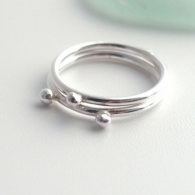 Two Dot Silver Rings