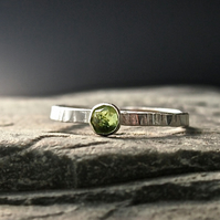 Sterling Silver Textured Ring with Rose Cut Peridot
