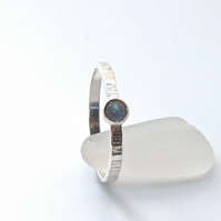 Textured Silver Ring with Rose cut Labradorite