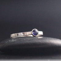 Textured Sterling Silver ring with rose cut Iolite