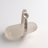 Sterling Silver Textured Band with Moonstone