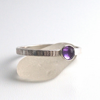 Textured Silver Ring with Rose cut African Amethyst