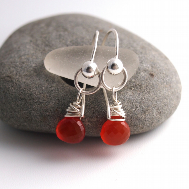 Silver Wrapped Earring with Fanta Orange Carnelian.
