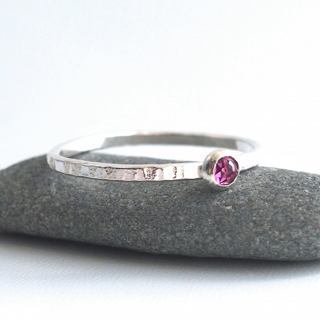 Sterling Silver Skinny Textured Ring With Pink Garnet