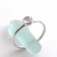 Blue Chalcedony and Silver Stacking Ring