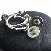 Sterling Silver Three Quarter Hoops with Peridot