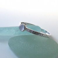 Textured Silver Ring with Rose cut Blue Chalcedony