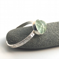 Sterling Silver and Facetted Prehnite Ring