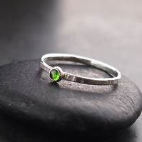 Sterling Silver Textured Skinny Ring with Chrome Diopside