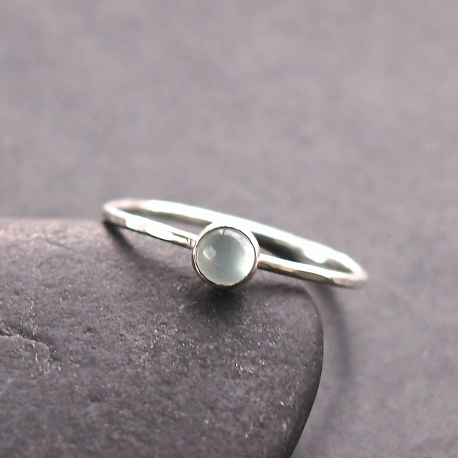 Skinny Stacking Ring with Milky Aquamarine