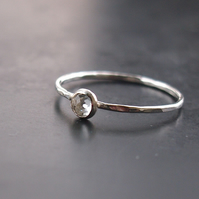 Silver Skinny Ring with White Topaz