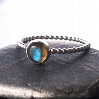 Sterling Silver Beaded Ring with Labradorite