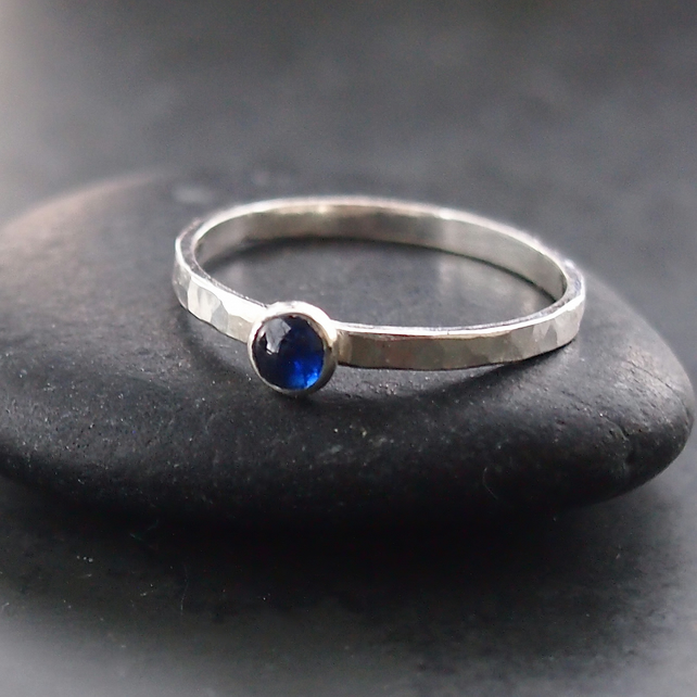 Silver Textured Ring with Kyanite