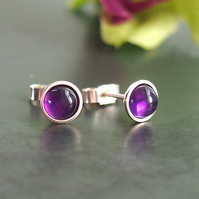 Amethyst and Sterling Silver Stud Earrings