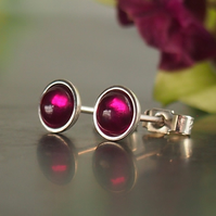 Ruby and Sterling Silver Stud Earrrings