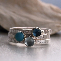 Rockpool Trio of Sterling Silver Rings
