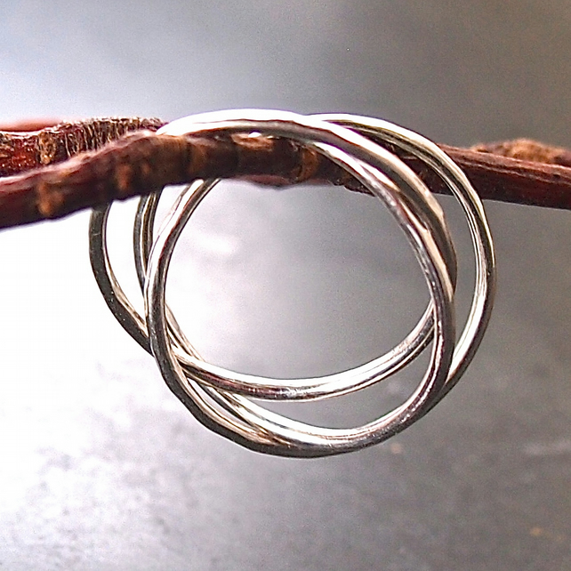Three Linked Silver Skinny Rings
