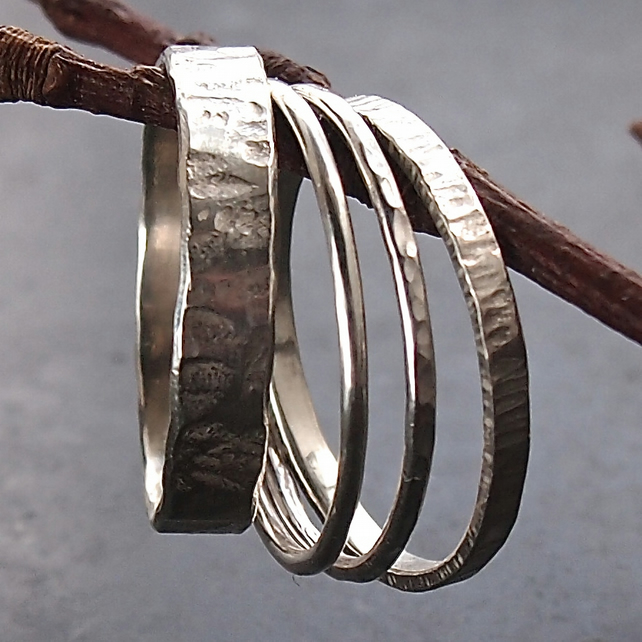 Sterling Silver Textured Stack