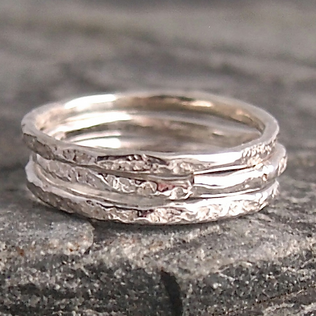 Silver Granite Ring Stack