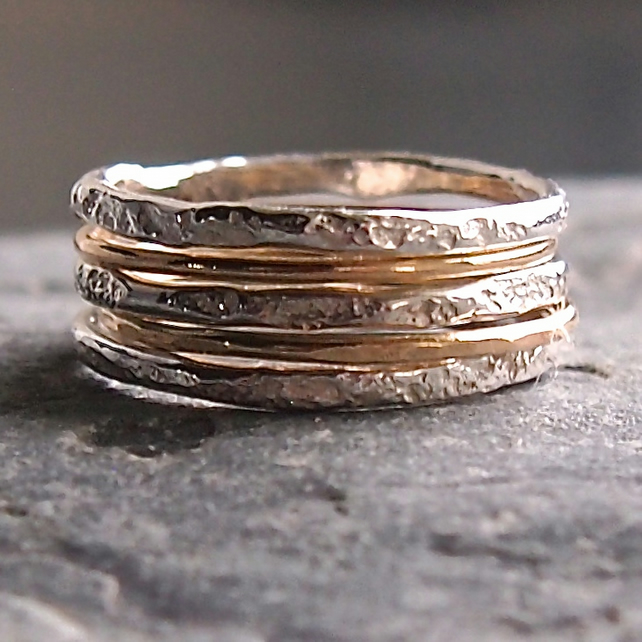 Sterling Silver and Gold Granite Stack