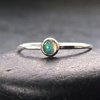 Sterling Silver Skinny Ring with Opal
