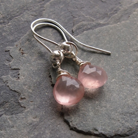 Simple Wrapped Earrings with Rose Quartz