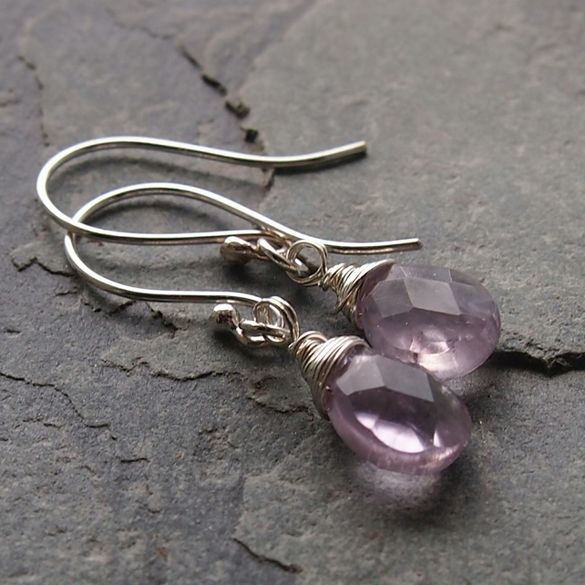Simple Silver Wrapped Amethyst Earrings