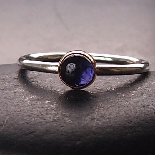 Iolite and Gold Sterling Silver Ring.