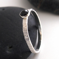Sterling Silver Ring with Black Garnet