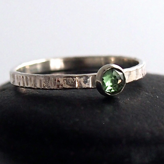 Silver Textured Ring with Deep Green Tourmaline