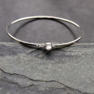 Sterling Silver Bangle with White Topaz