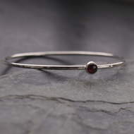 Sterling Silver Bangle with Garnet